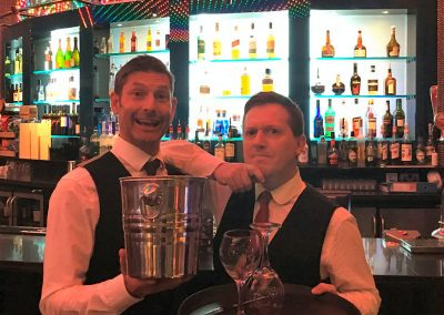 Baz 'n' Roop are Entertainers disguised as Waiters!