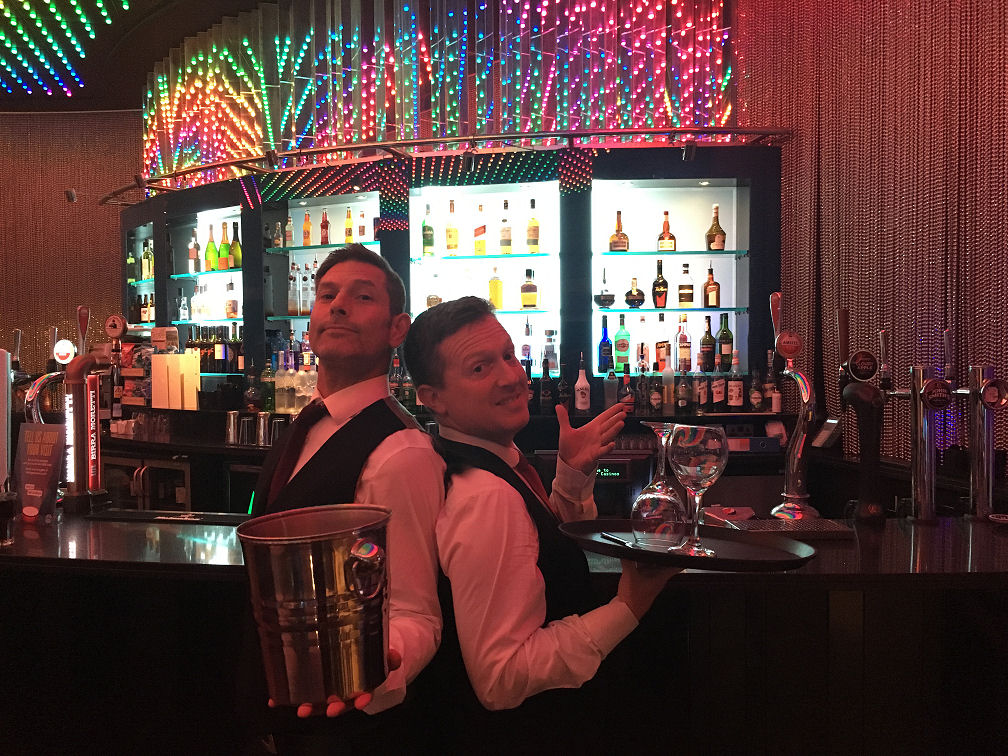 Baz 'n' Roop - waiter infilatration before the surprise cabaret